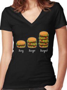 Burger explained 2: Burg. Burger. Burgest Women's Fitted V-Neck T-Shirt