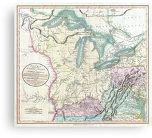 Vintage Map of The Great Lakes & Midwest (1801) Canvas Print