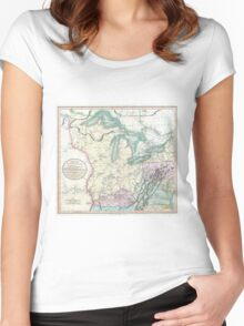 Vintage Map of The Great Lakes & Midwest (1801) Women's Fitted Scoop T-Shirt