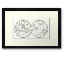 Vintage Northern and Southern World Hemisphere Map  Framed Print
