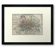 Vintage Map of London England (1852) Framed Print