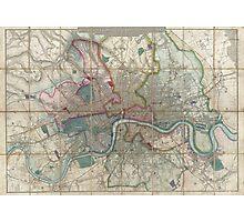Vintage Map of London England (1852) Photographic Print