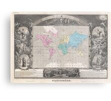 Vintage Map of The World (1852) 2 Metal Print