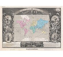 Vintage Map of The World (1852) 2 Photographic Print