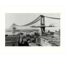 Manhattan Bridge Under Construction (March 23rd 1909) Art Print