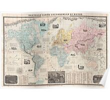 Vintage Map of The World (1859) Poster
