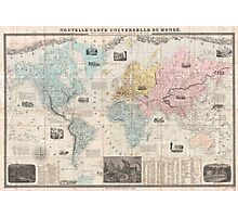 Vintage Map of The World (1859) Photographic Print
