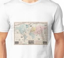 Vintage Map of The World (1859) Unisex T-Shirt