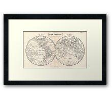 Vintage Map of The World (1860) 2 Framed Print