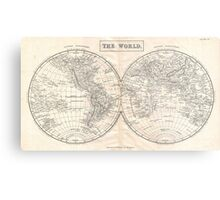 Vintage Map of The World (1860) 2 Metal Print