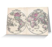 Vintage Map of The World (1862) Greeting Card