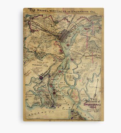 Vintage Savannah Georgia Civil War Map (1864) Metal Print