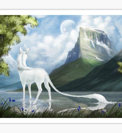 Serene Lake White Unicorn Sticker