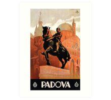 Vintage Padua Padova Italian travel, horse rider statue Art Print