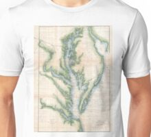 Vintage Map of The Chesapeake Bay (1873) Unisex T-Shirt