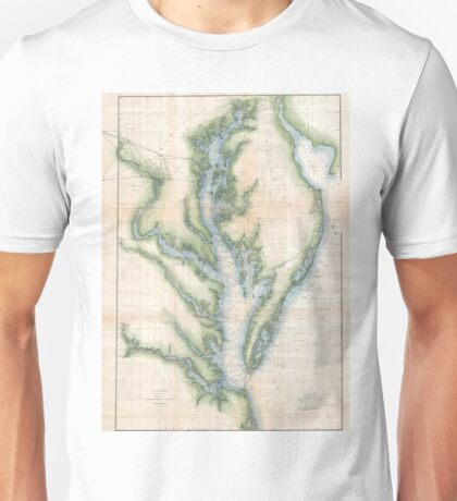 Vintage Map of The Chesapeake Bay (1873) Unisex T-Shirt