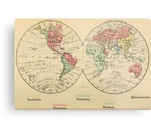 Vintage Map of The World's Religions (1883) Metal Print