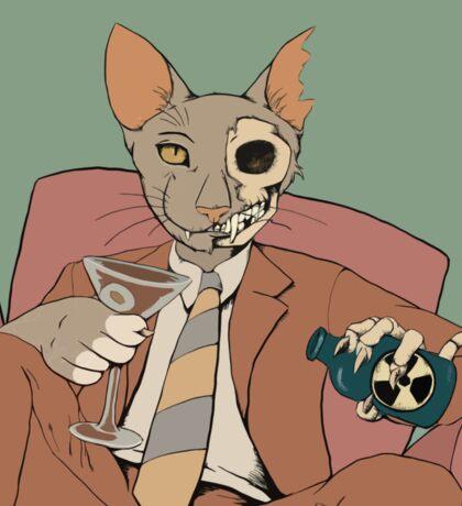 Schrodinger alcoholic cat Sticker