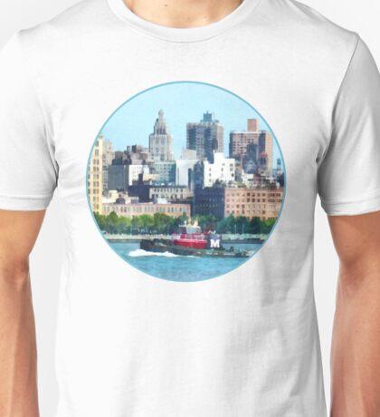 Tugboat Against Manhattan Skyline Unisex T-Shirt