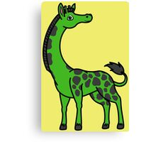 Green Giraffe with Black Spots Canvas Print