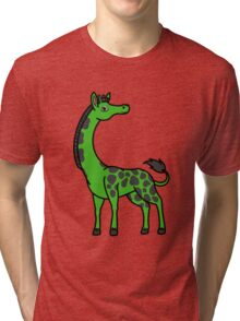 Green Giraffe with Black Spots Tri-blend T-Shirt