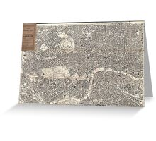 Vintage Map of London England (1899) 2 Greeting Card