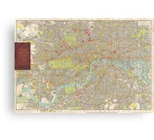 Vintage Map of London England (1910) Canvas Print