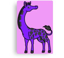 Purple Giraffe with Black Spots Canvas Print