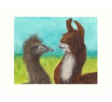 Emu Llama Farm Animal Cathy Peek Ranch Art Art Print