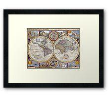 Vintage Map of The World (1626) Framed Print