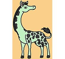 Light Green Giraffe with Black Spots Photographic Print