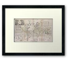 Vintage Map of The World (1719) Framed Print