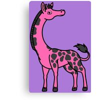 Hot Pink Giraffe with Black Spots Canvas Print