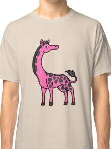 Hot Pink Giraffe with Black Spots Classic T-Shirt