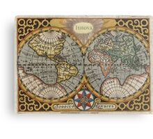 Vintage Map of The World (1596) Metal Print