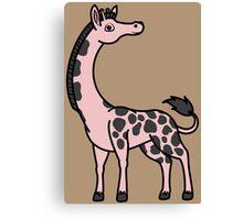 Light Pink Giraffe with Black Spots Canvas Print