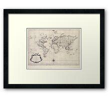 Vintage Map of The World (1750) Framed Print