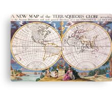 Vintage Map of The World (1700) Metal Print