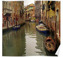 Venice Canel Boats Poster