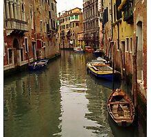 Venice Canel Boats Photographic Print