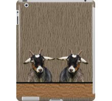 Adorable young goats on textured background in browns iPad Case/Skin