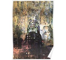 New York empire state building at night modern abstract painting art design Poster