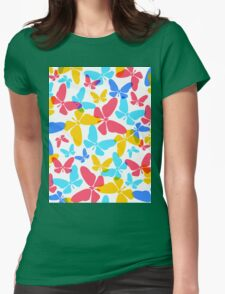 Butterflies pattern Womens Fitted T-Shirt