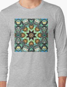 Green And Grey Abstract Long Sleeve T-Shirt