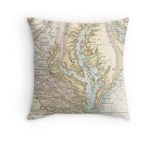 Vintage Map of The Chesapeake Bay (1778) 2 Throw Pillow