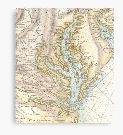 Vintage Map of The Chesapeake Bay (1778) 2 Canvas Print