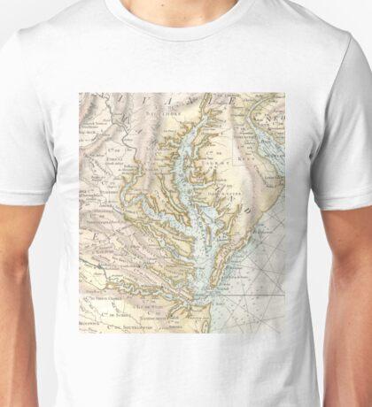 Vintage Map of The Chesapeake Bay (1778) 2 Unisex T-Shirt