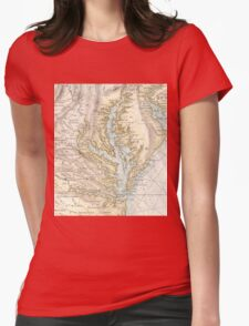 Vintage Map of The Chesapeake Bay (1778) 2 Womens Fitted T-Shirt