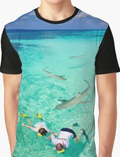 Snorkeling with sharks in the Maldives Graphic T-Shirt