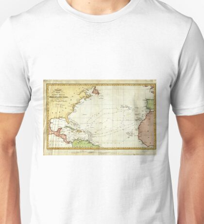 Vintage Christopher Columbus Voyage Map (1828) Unisex T-Shirt